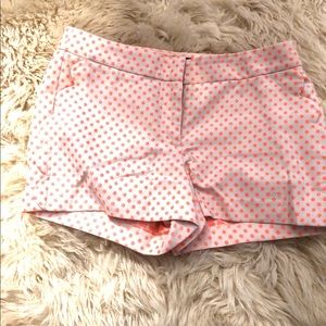 Jcrew White Shorts with Pink Polkadots